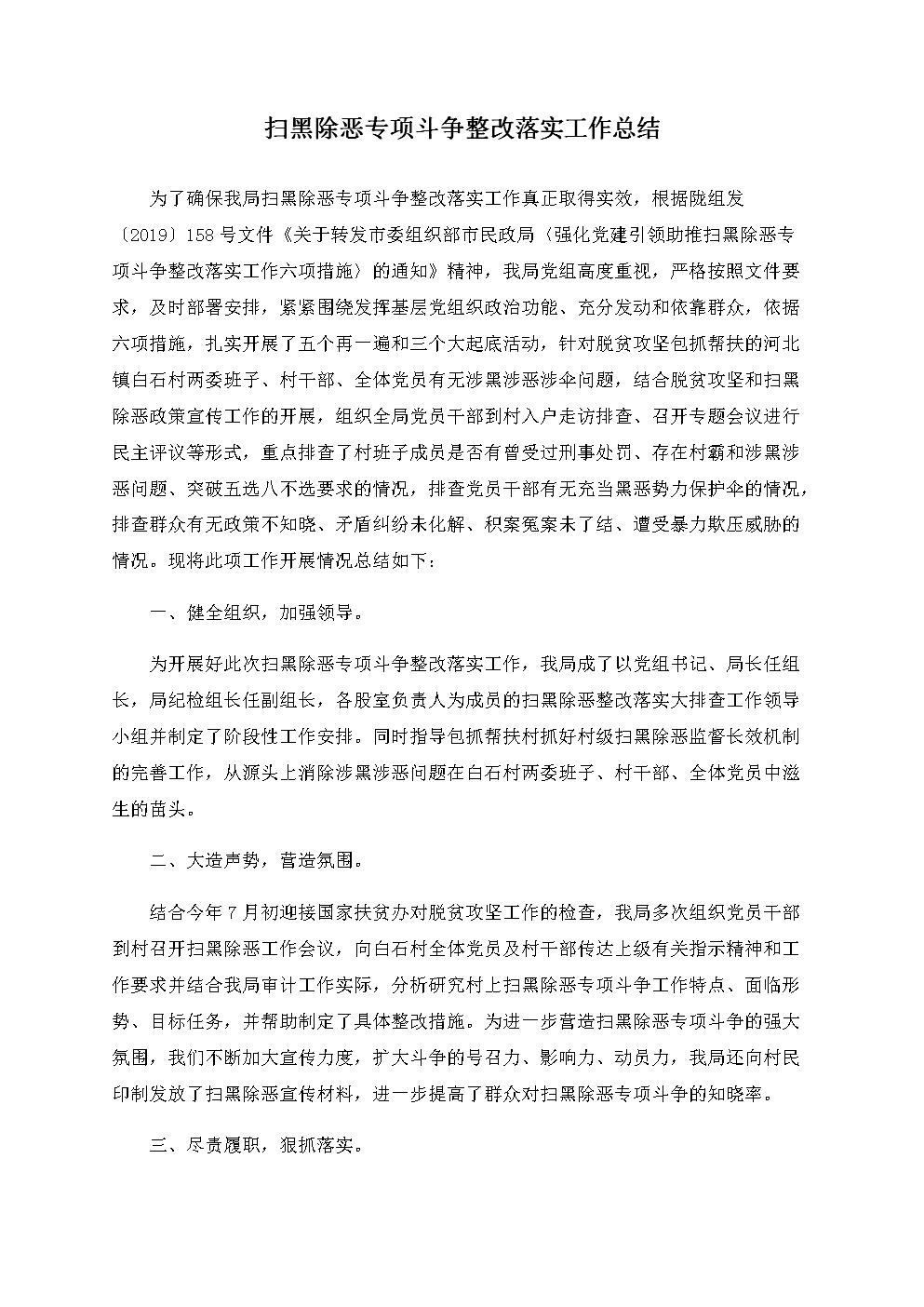 扫黑除恶专项斗争整改落实工作总结.docx