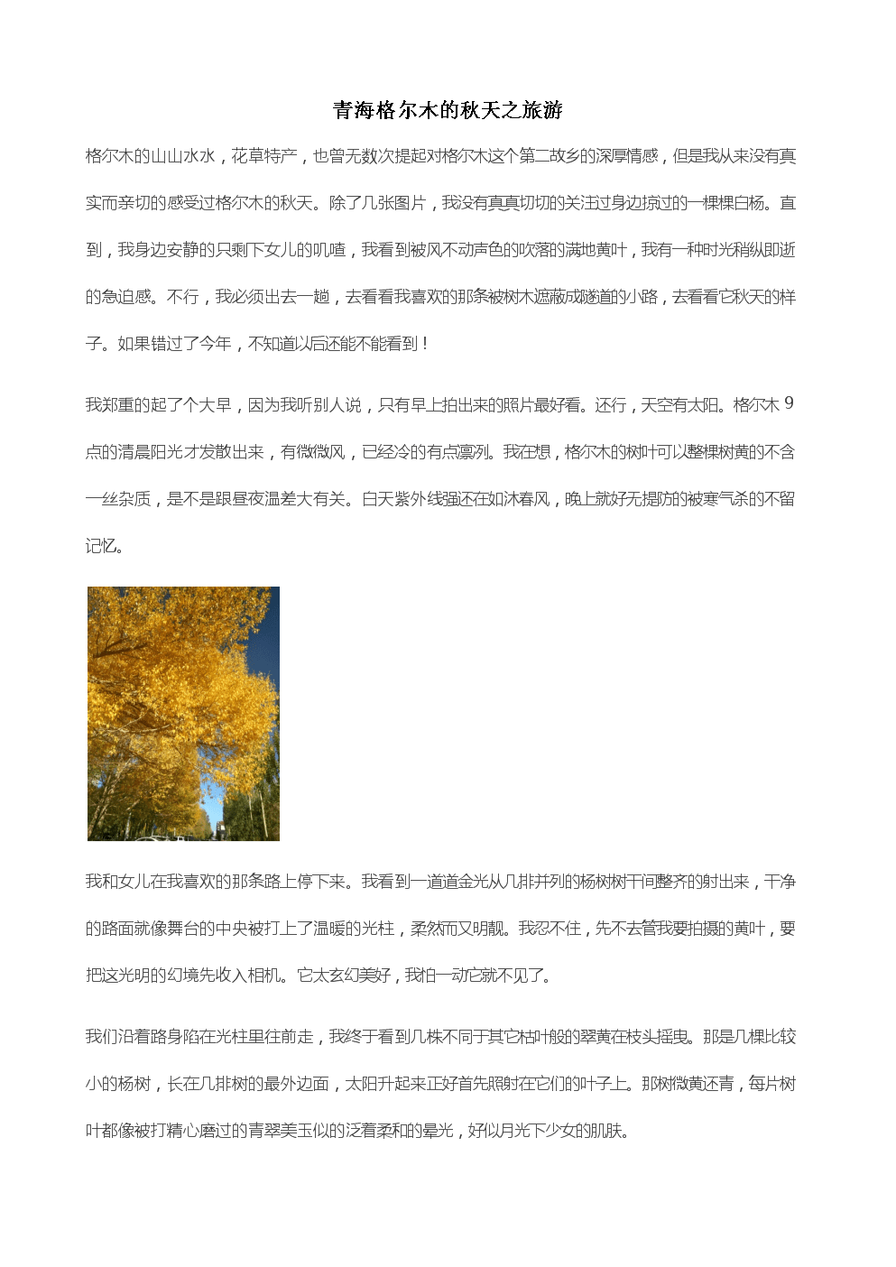 格尔木的秋天之旅游.docx