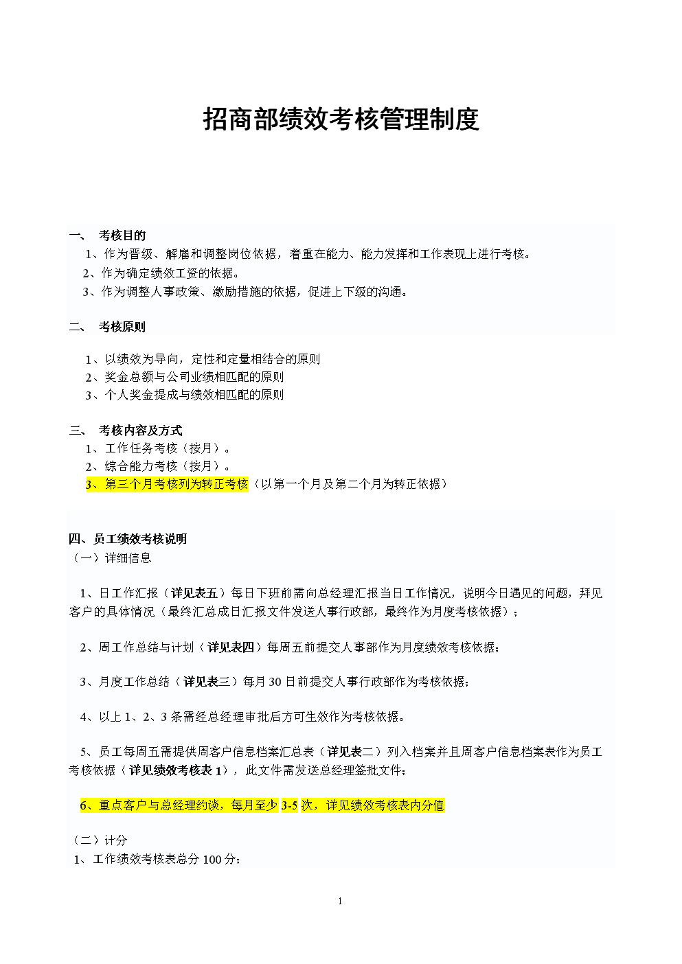 招商部绩效考核管理制度正式执行版.doc