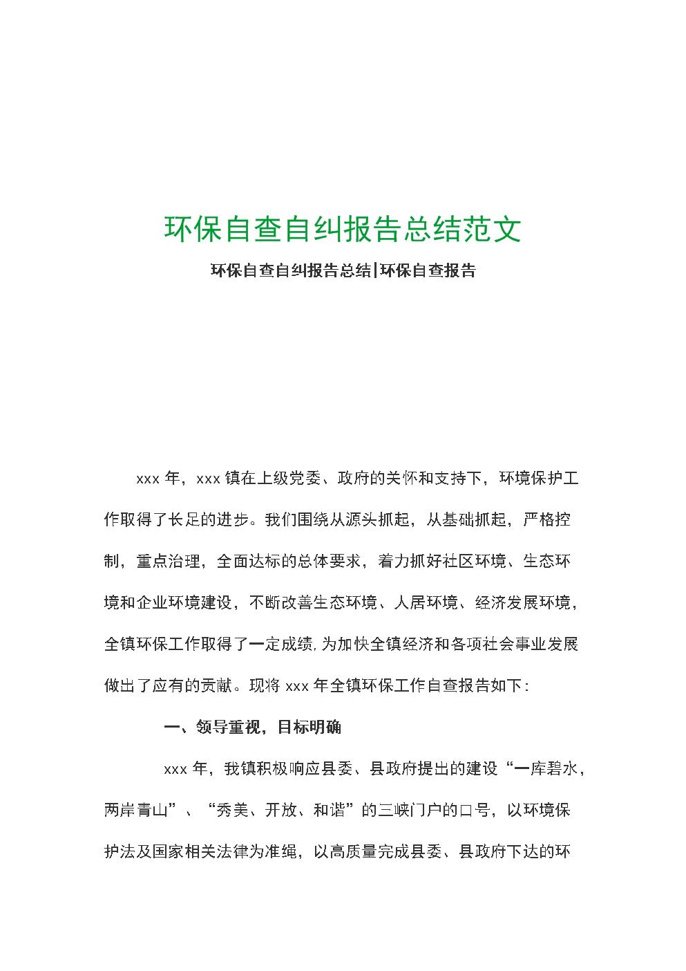 环保自查自纠报告总结范文.docx