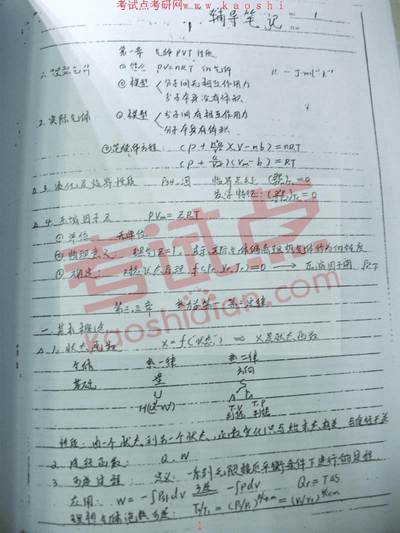2015年考研物理化学辅导笔记手抄版.pdf