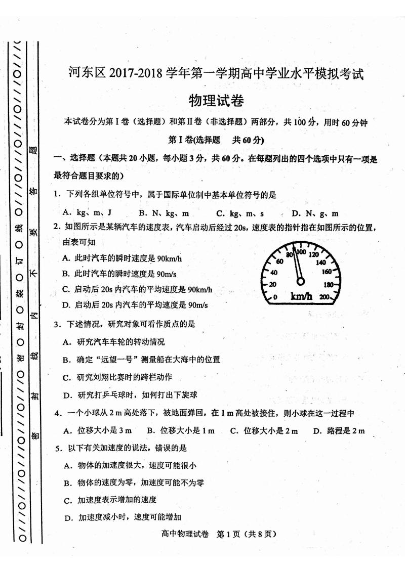 天津市河东区2017-2018学期上高中水平学业磁场模拟.v学期题高中学年图片