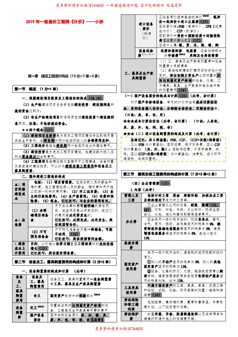 2019年一造《计价》考前小抄(和XSW小范围内容一样).pdf
