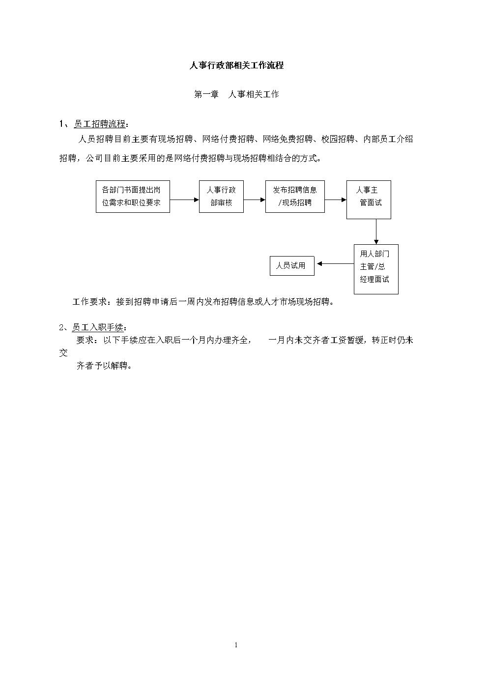 人事行政部工作流程(详细版).doc