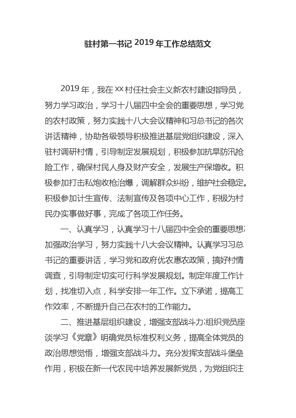 驻村第一书记2019年工作总结范文.docx