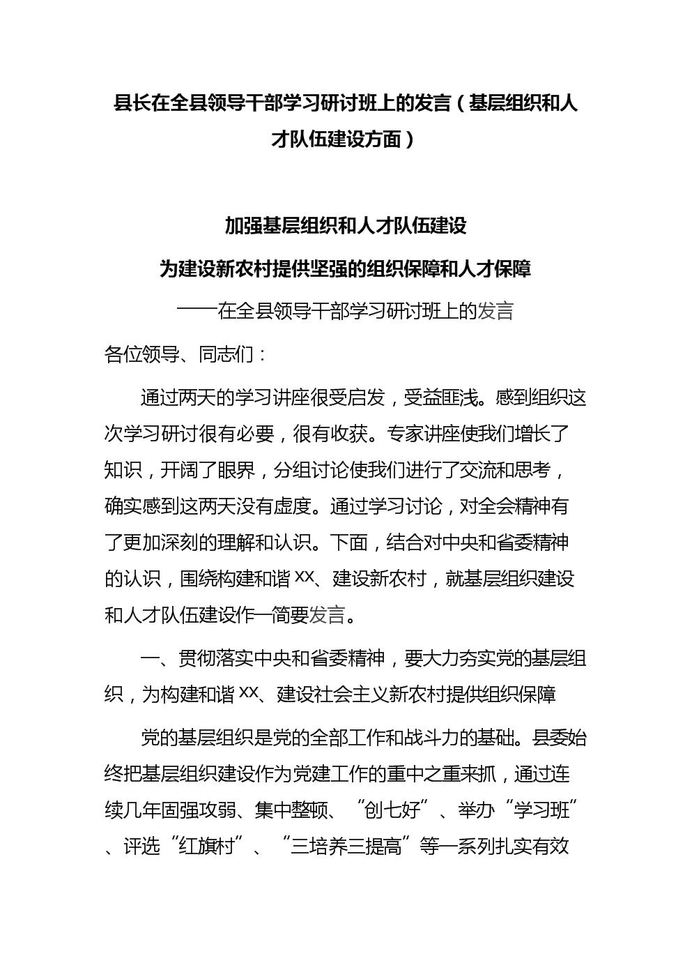 县长在全县领导干部学习研讨班上的发言(基层组织和人才队伍建设方面).docx