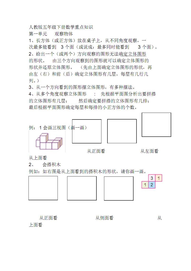 人教五年级下册数学复习资料与习题精.pdf