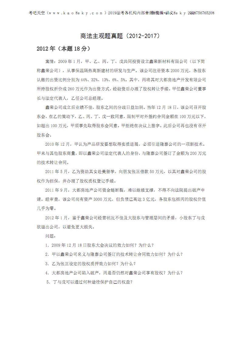 商法主观题真题.pdf