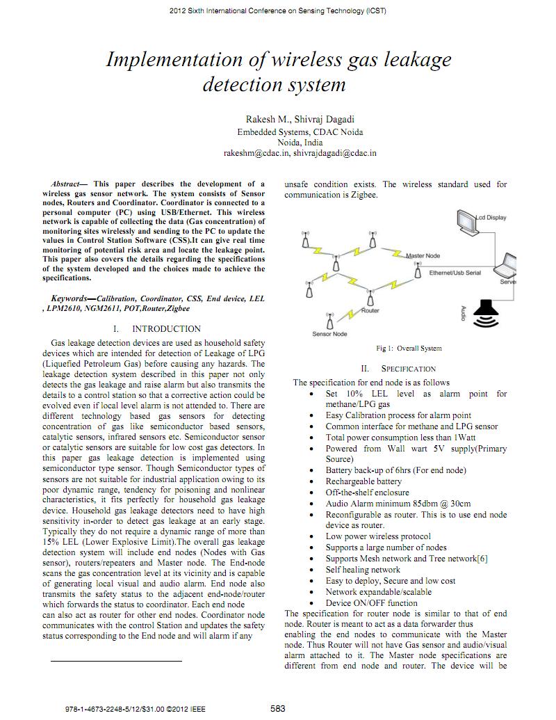 关于煤气瓦斯气体系统设计有关 的外文文献翻译:无线气体泄漏检测系统的实现.pdf