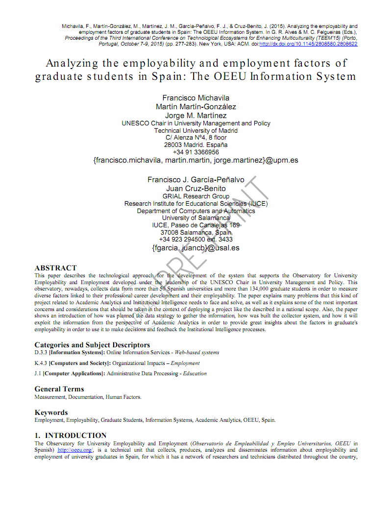 关于大学生分析有关 的外文文献翻译:分析西班牙研究生的就业能力和就业因素:OEEU信息系统.pdf