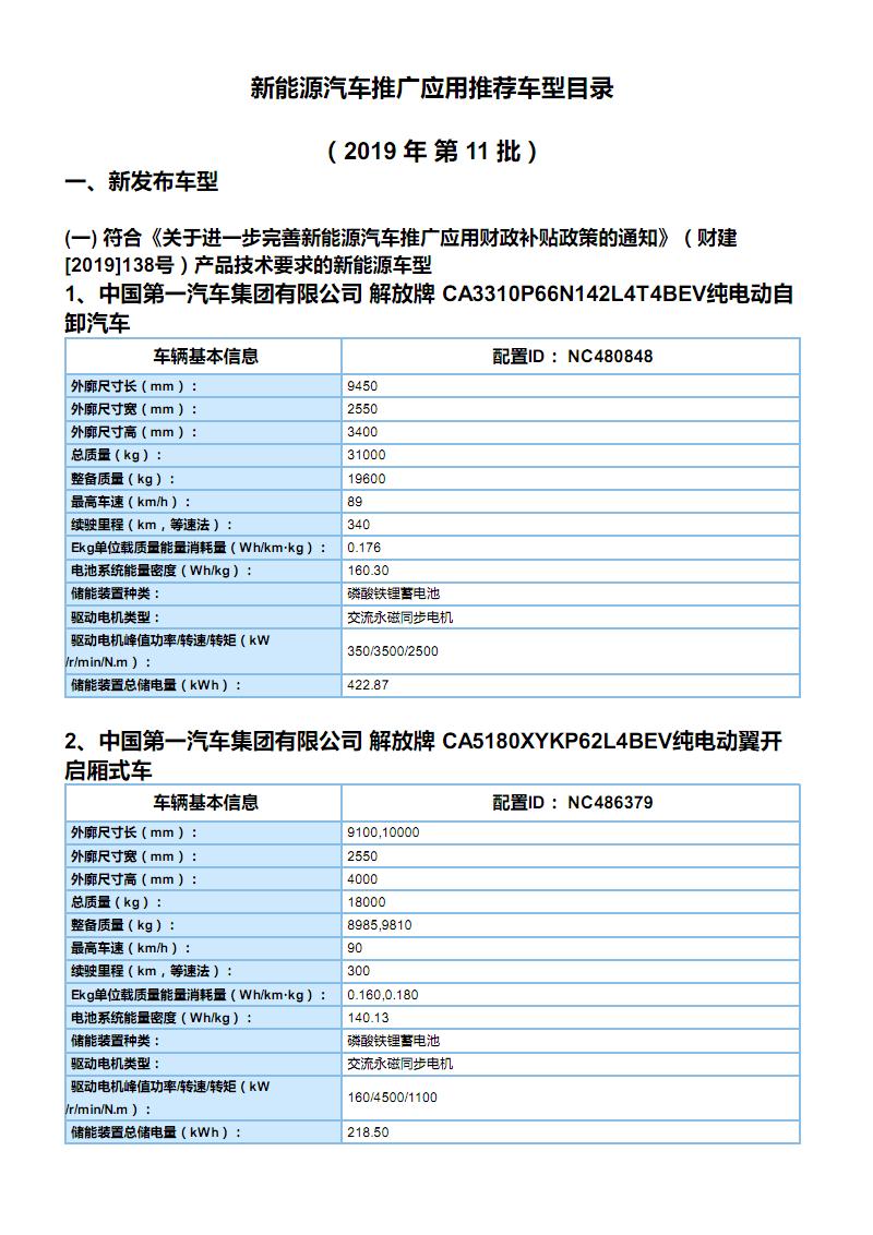 《新能源汽车推广应用推荐车型目录》(2019年第11批)车型主要参数.pdf