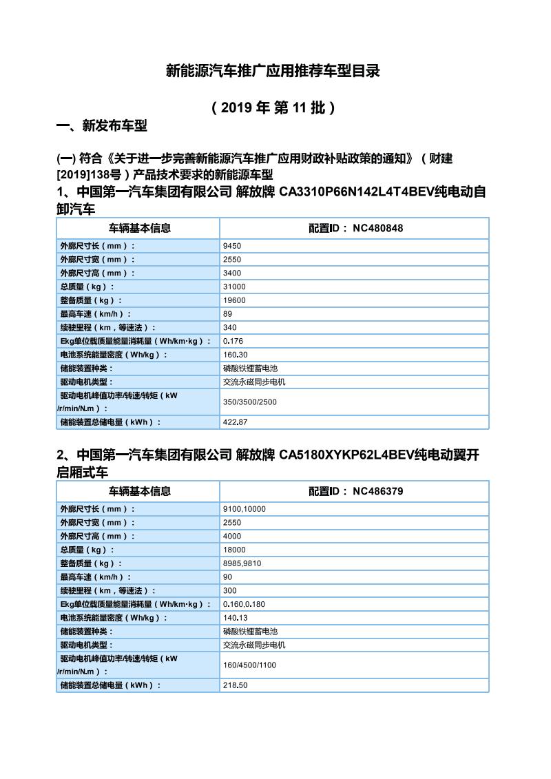 《新能源汽车推广应用推荐车型目录》车型主要参数(2019年第11批).pdf