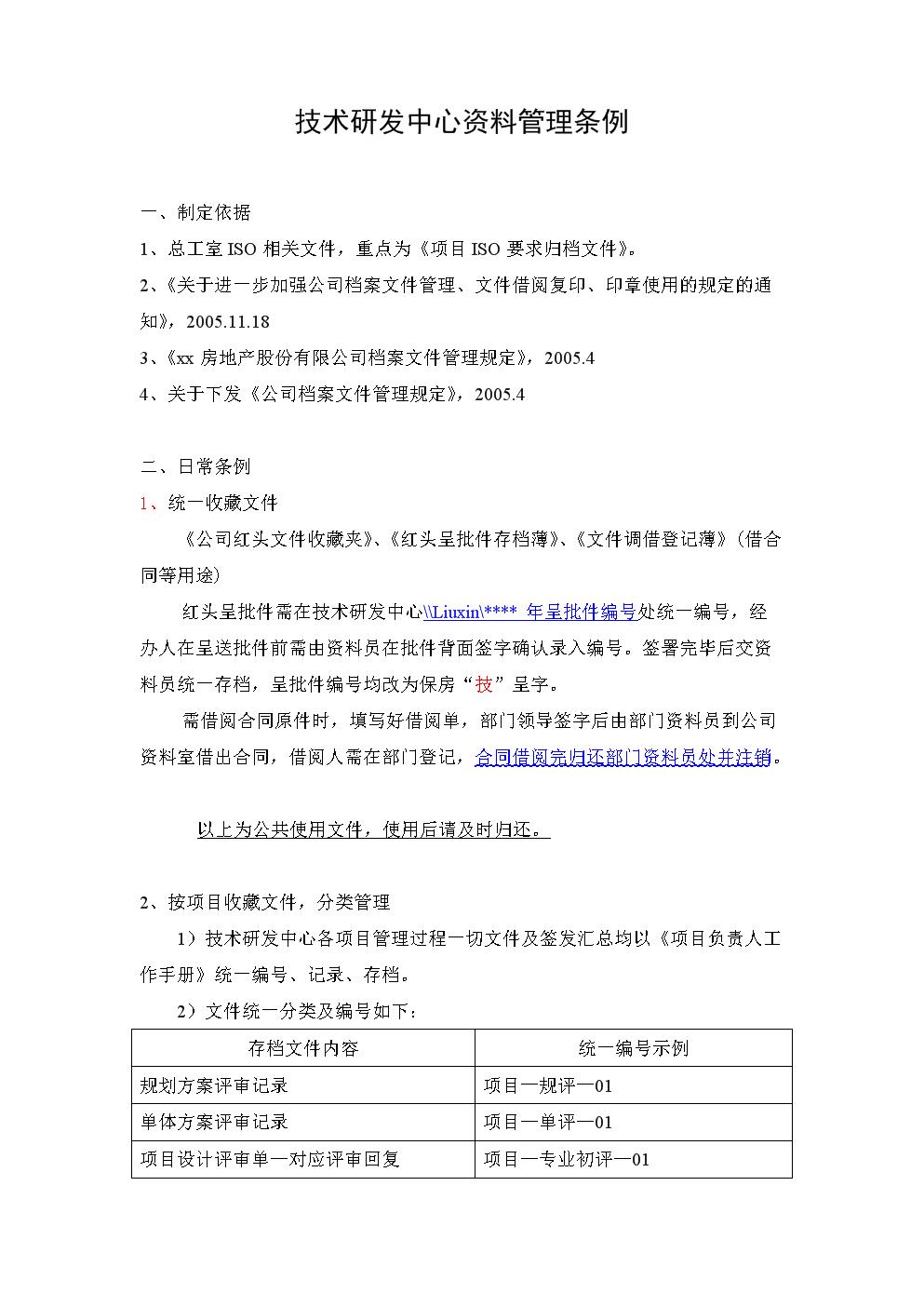 房地产公司技术研发中心资料管理条例.doc