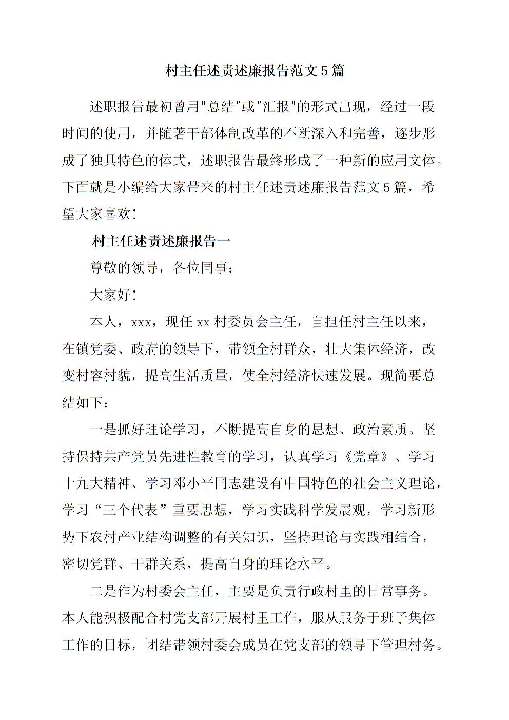 村主任述责述廉报告范文5篇.doc