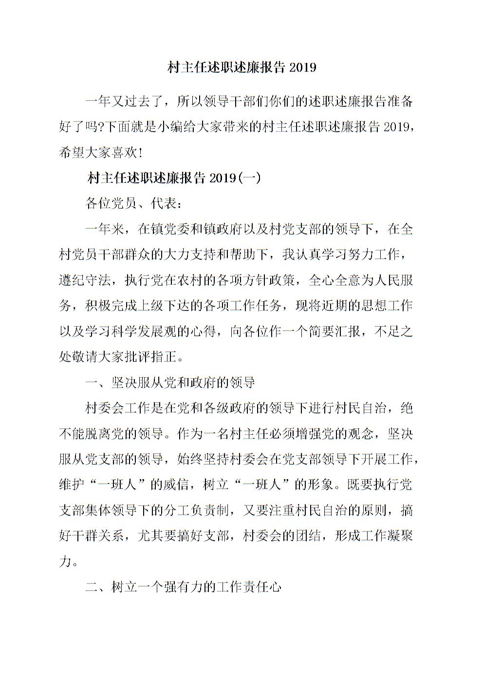 村主任述职述廉报告2019.doc