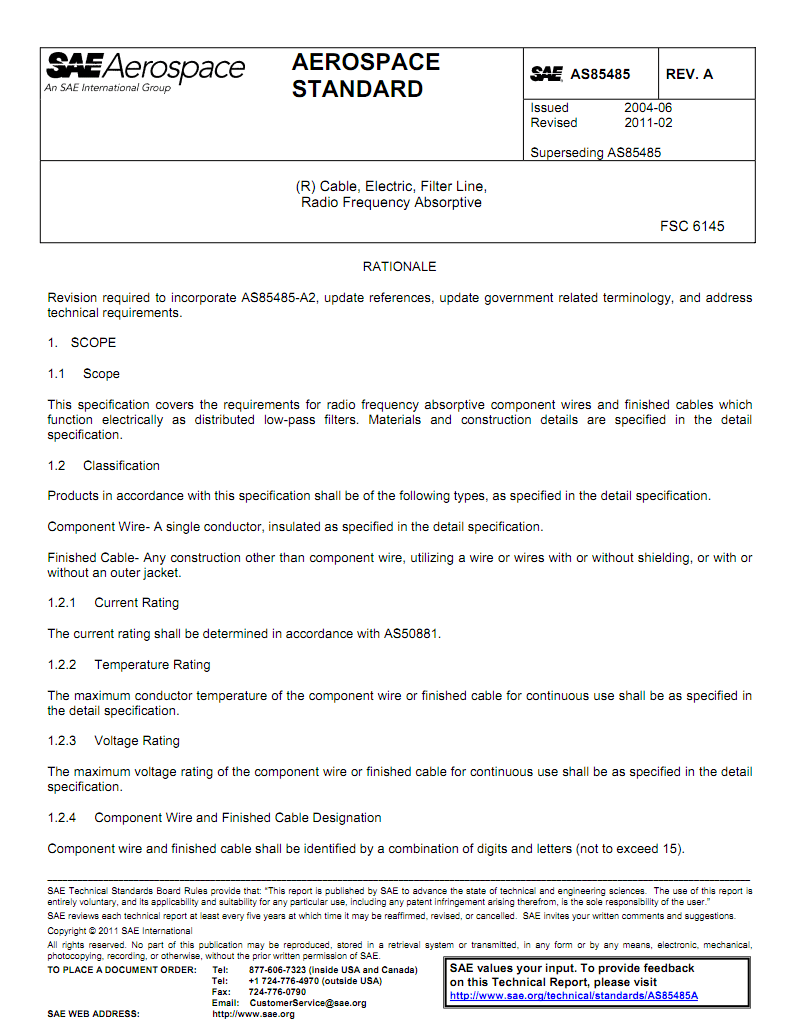 SAE AS 85485A-11带屏蔽层射频吸收电缆.pdf