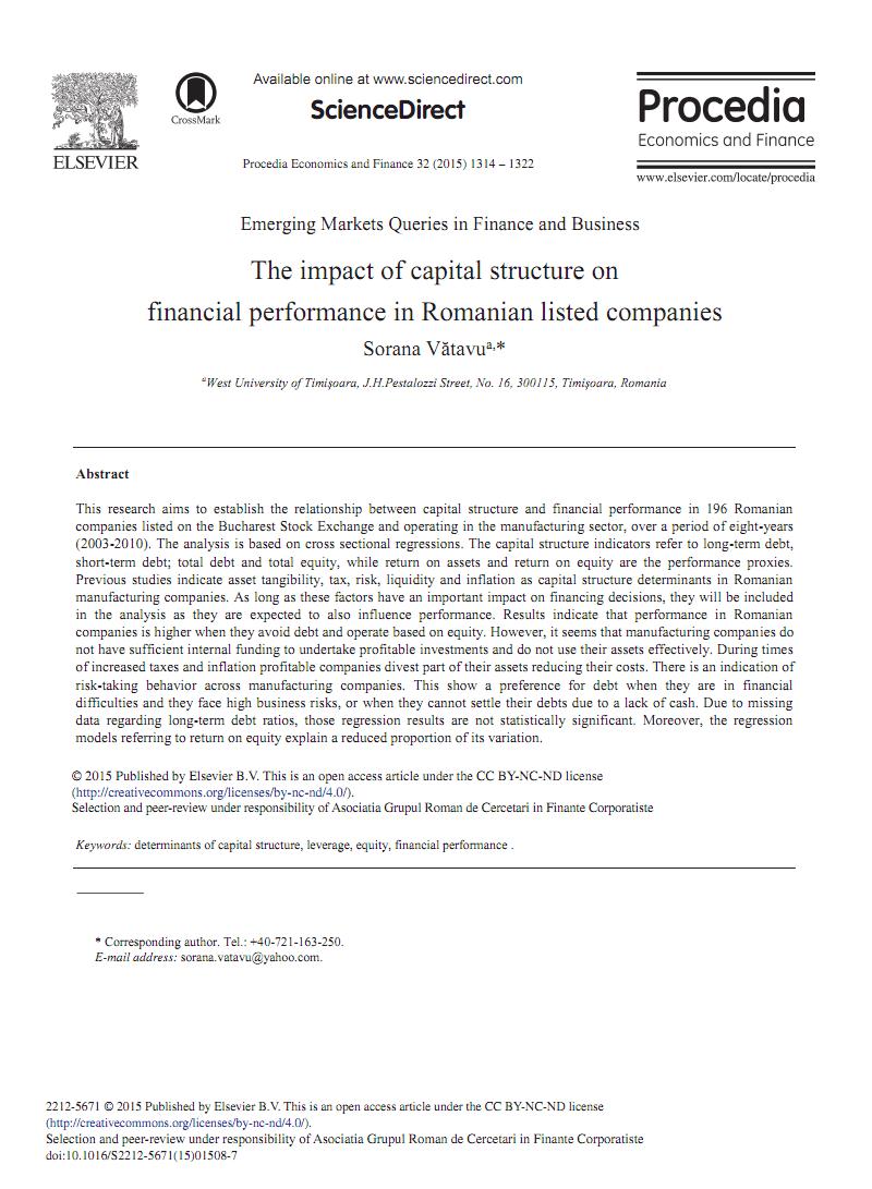 关于企业资产结构与财务绩效业绩关系有关 的外文文献翻译:资本结构对罗马尼亚上市公司财务绩效的影响.pdf