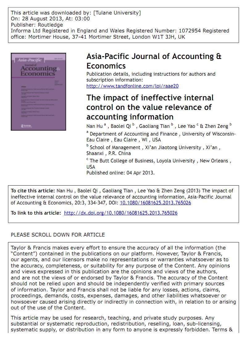 关于企业公司内部控制会计信息质量加载有关 的外文文献翻译:内部控制无效对会计信息价值相关性的影响.pdf