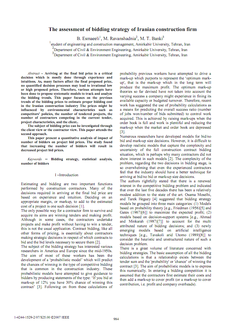 关于土木工程建筑项目竞标招标投标策略有关的外文文献翻译:伊朗建筑公司的招投标策略评估.pdf