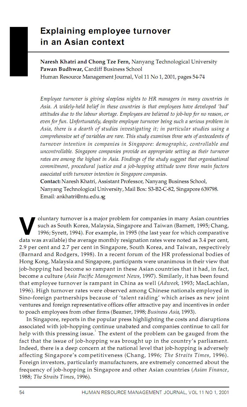 关于人力资源企业公司员工职工流失流动离职因素分析有关 的外文文献翻译:在亚洲范畴下解释员工流失.pdf