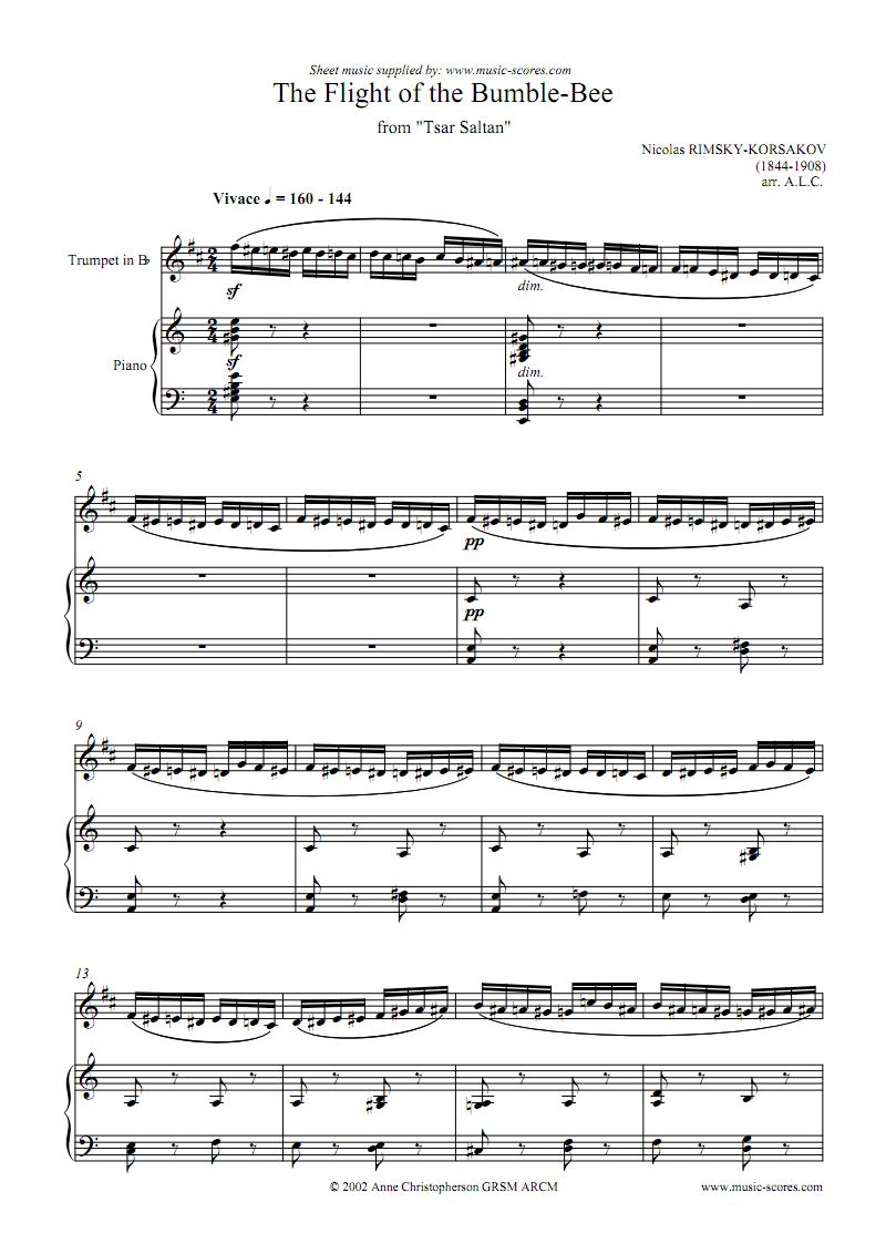 野蜂飞舞乐谱 Rimsky Korsakoff - The Flight Of The Bumblebee (For Trumpet And Piano) (Sheet Music).pdf