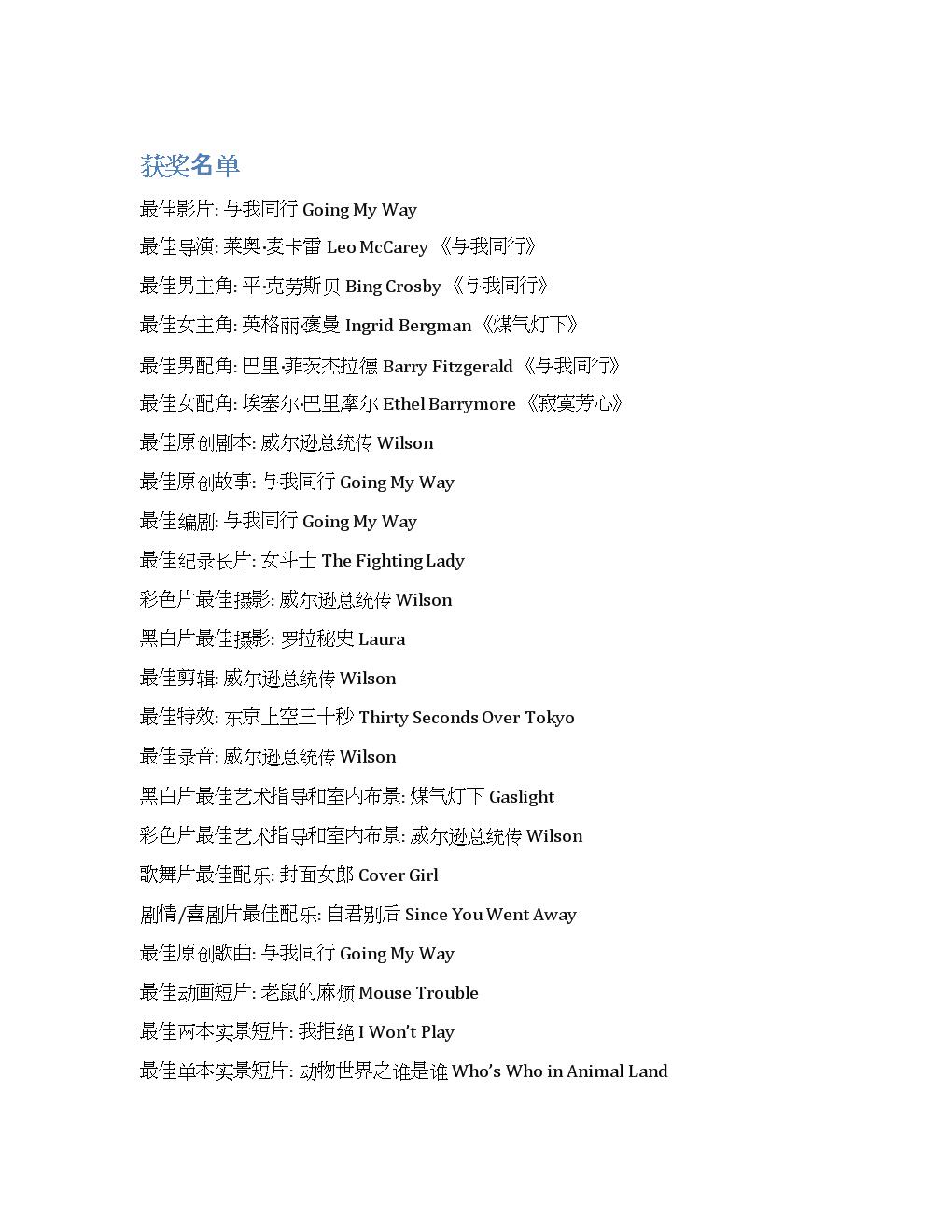 历届奥斯卡电影经典之1945年.docx