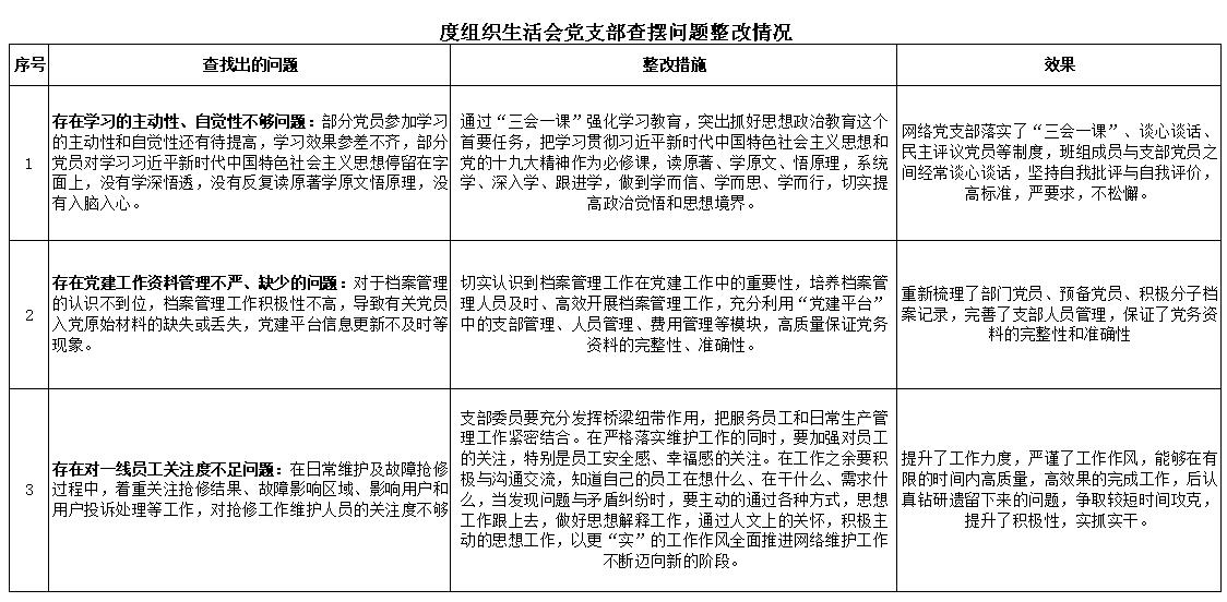 度组织生活会党支部查摆问题整改情况.xls