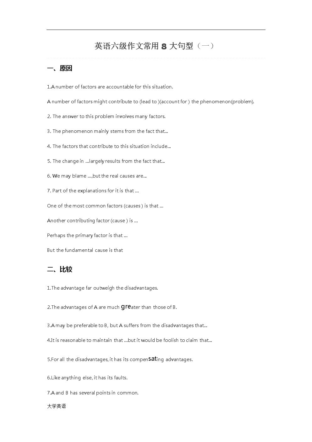 英语考级六级作文常用8大句型资料.docx