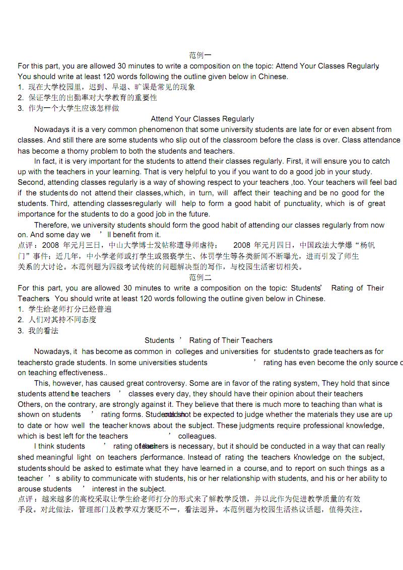 大学英语四级作文参考范文30篇.pdf