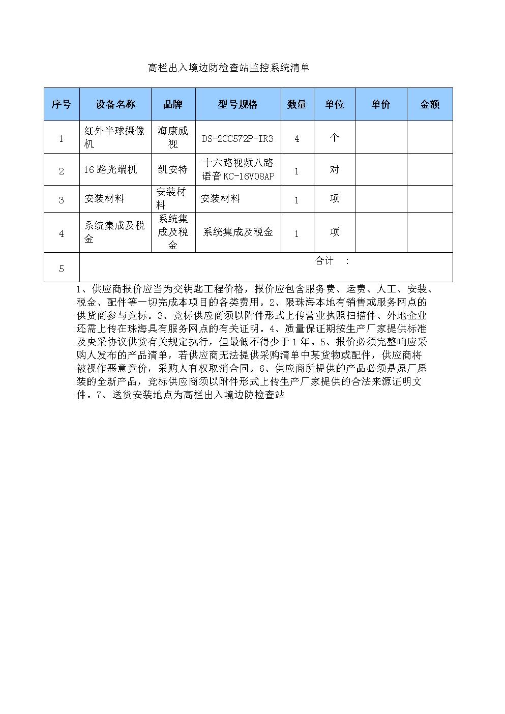 高栏出入境边防检查站监控系统清单.doc