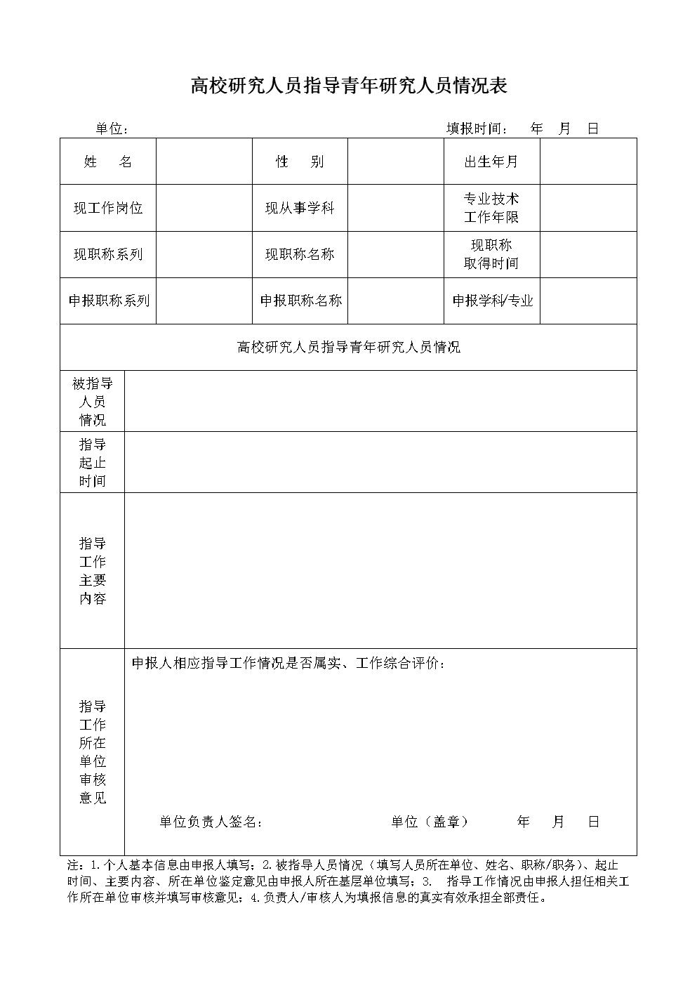 高校研究人员指导青年研究人员情况表.doc