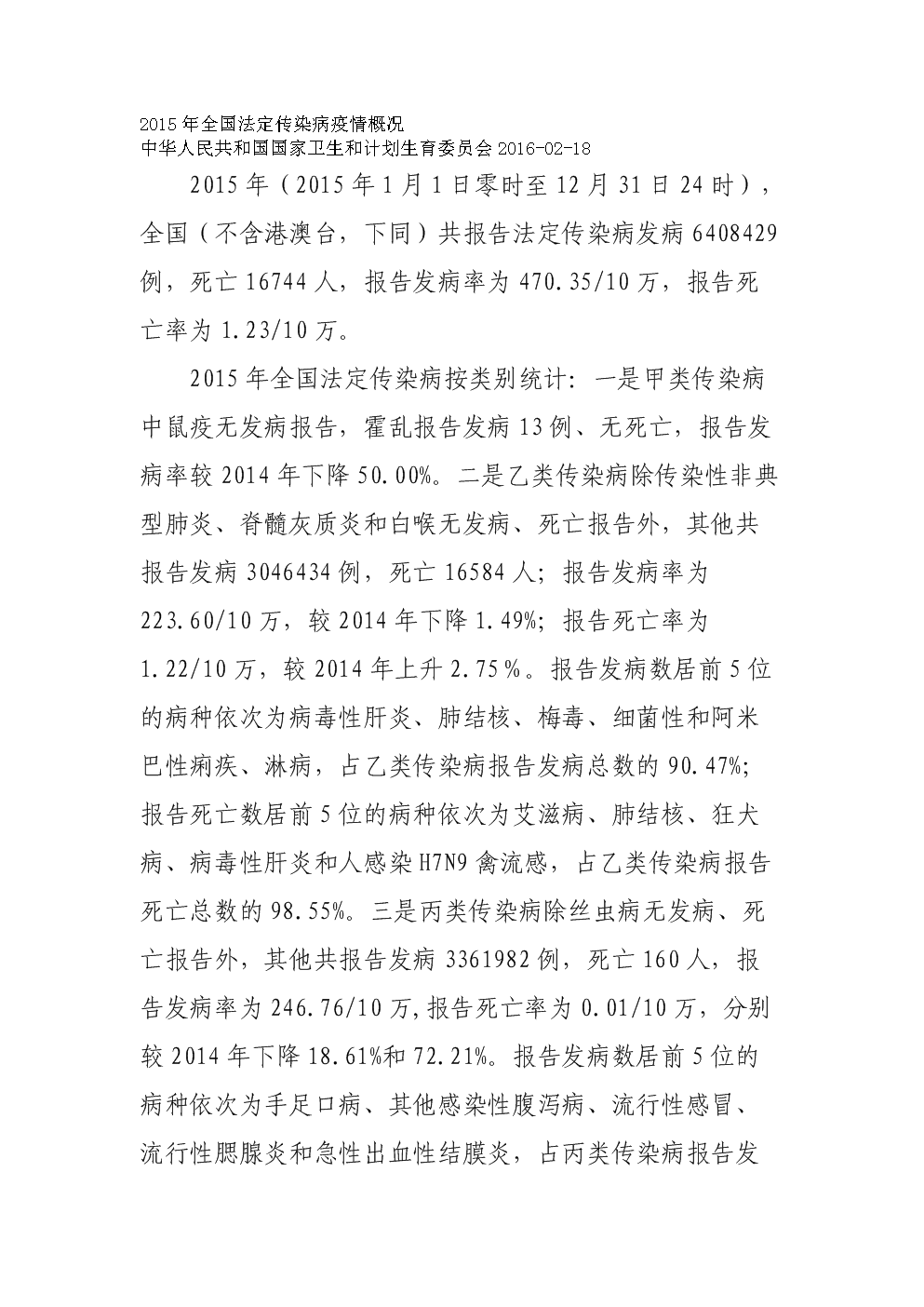 2015年全国法定传染病疫情概况.doc