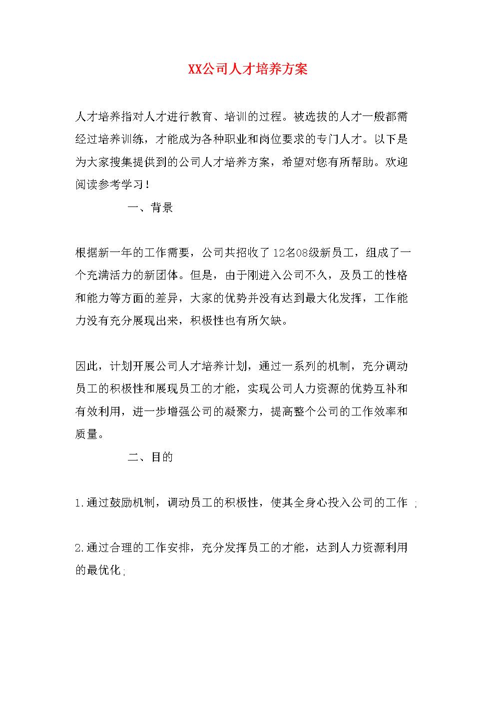 XX公司人才培养方案.doc