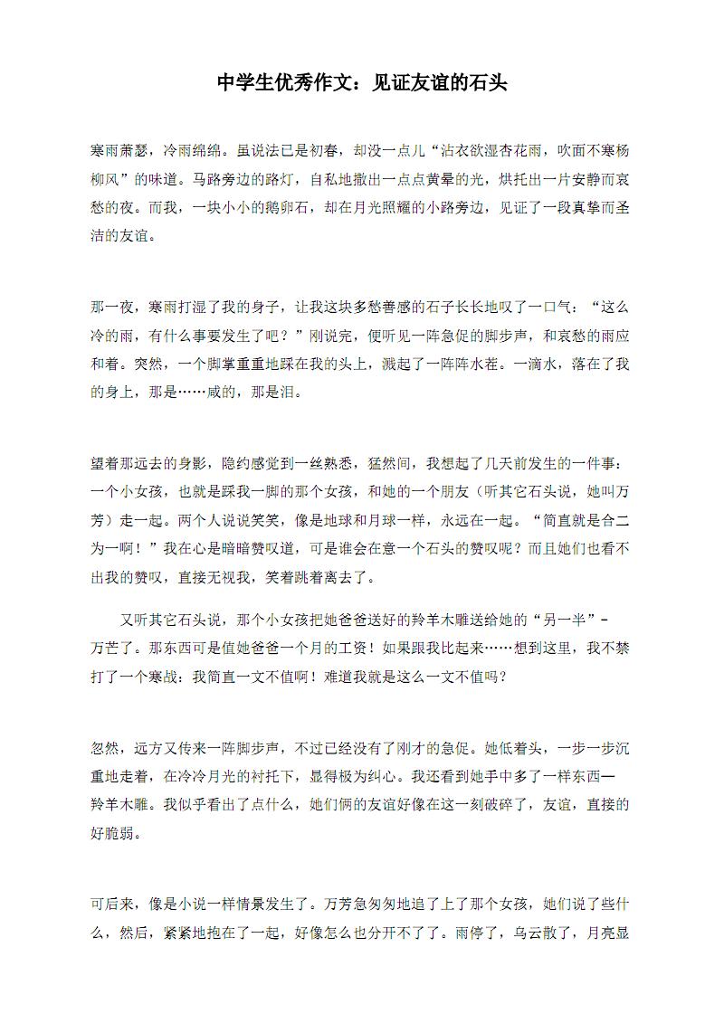 中学生优秀作文:见证友谊的石头.pdf