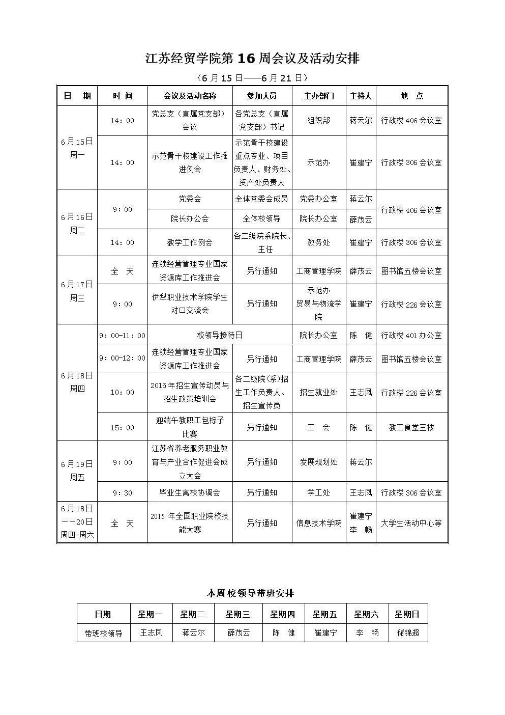 江苏经贸学院第16周会议及活动安排.doc