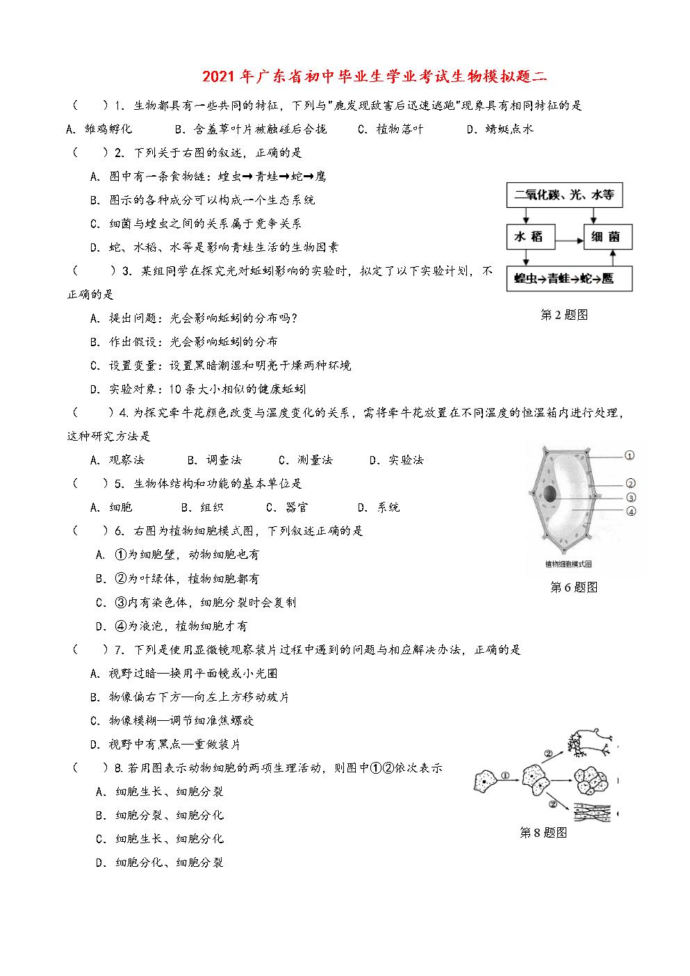 2021年广东省初中生物毕业生学业考试模拟试题(九年级).doc