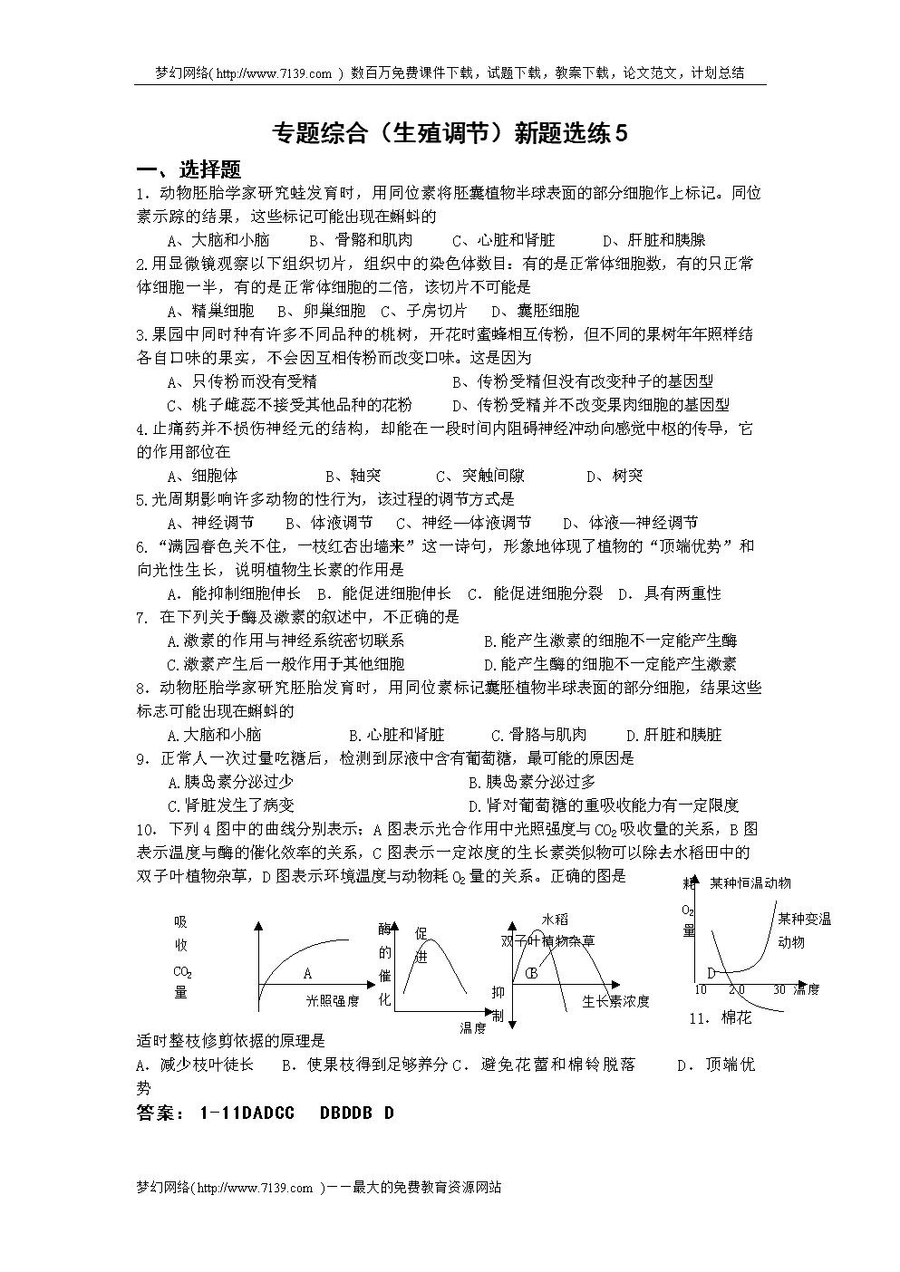 专题综合(生殖调节)新题选练5.doc