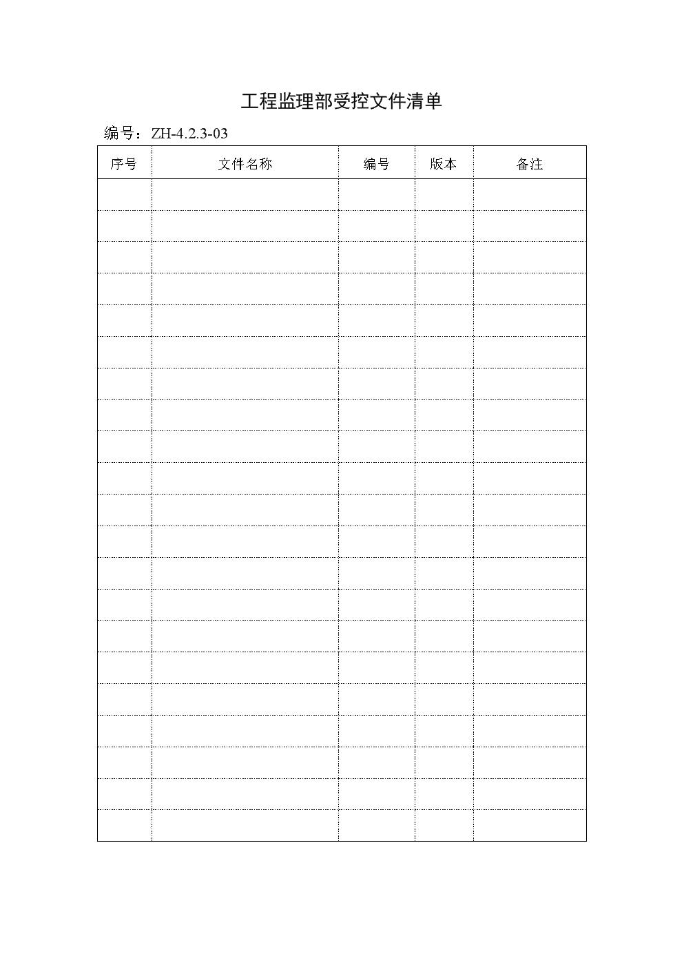 项目监理部受控文件清单.doc