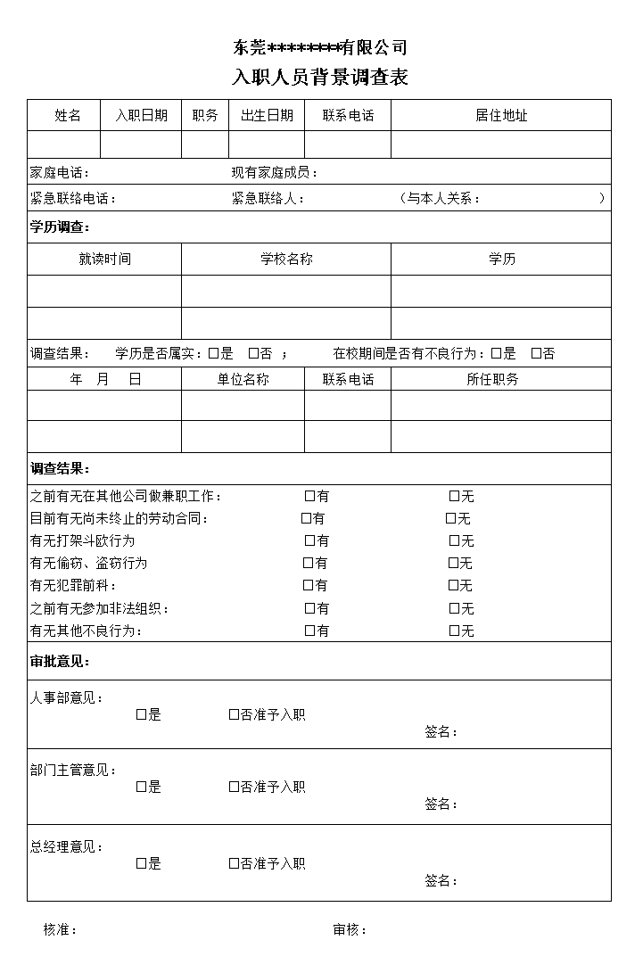 敏感岗位背景调查.xls