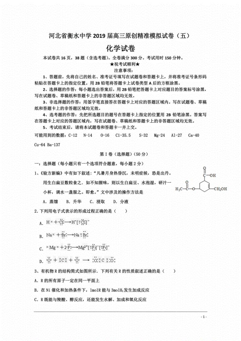 河北省衡水中学2019届高三原创精准模拟试卷化学试卷.pdf