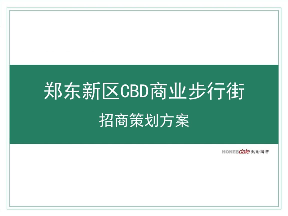 郑州郑东新区cbd商业步行街招商策划的方案.ppt
