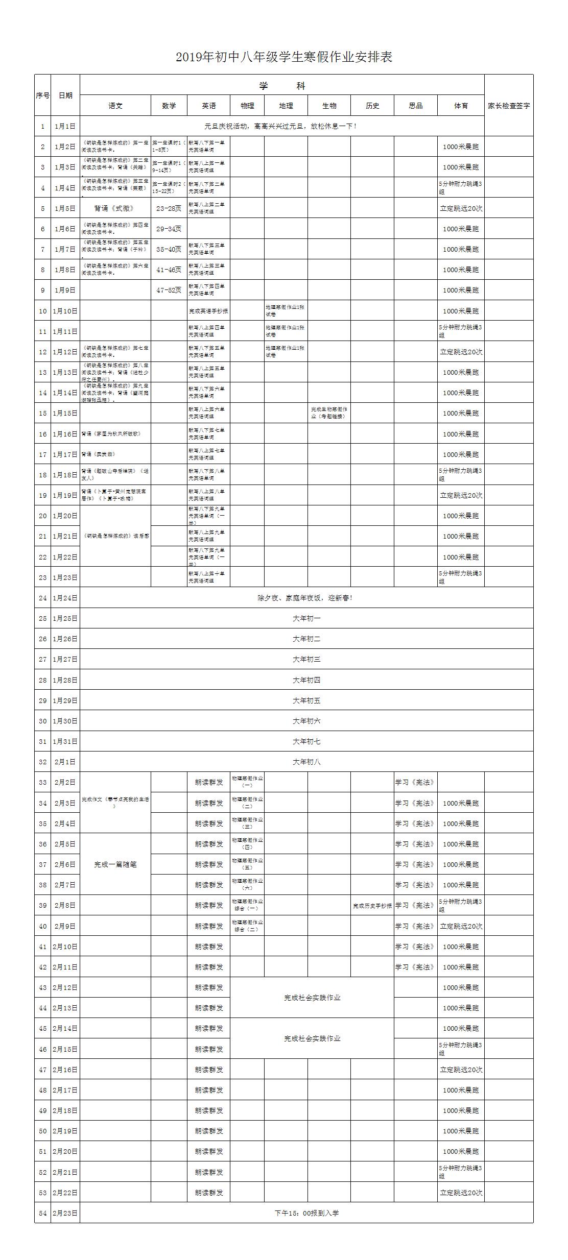 2019年初中八年级学生寒假作业安排表.xlsx