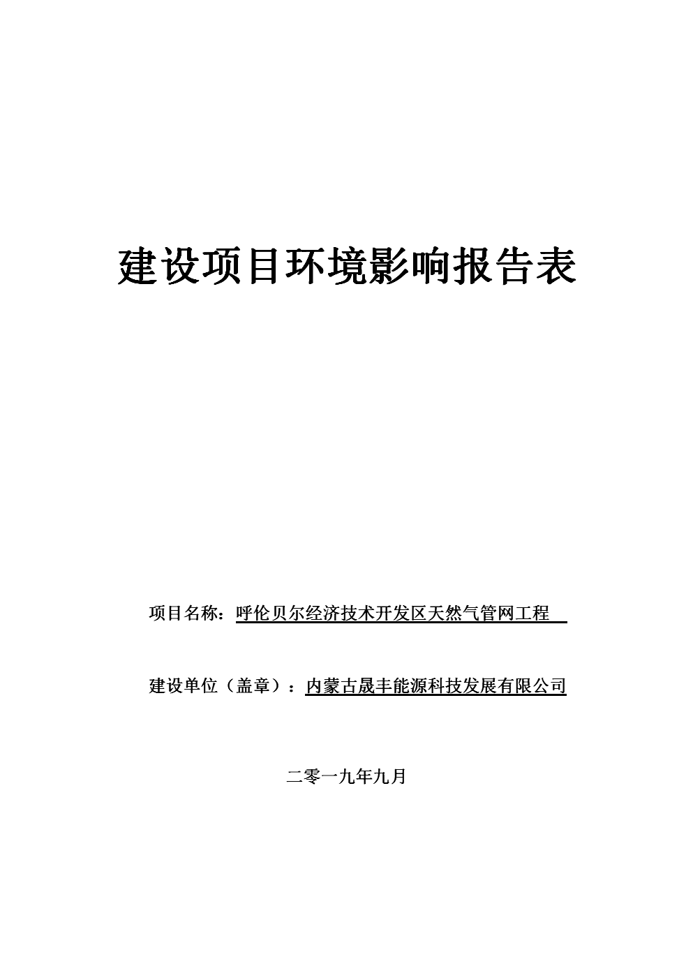 天然气管网项目环境影响报告表.doc