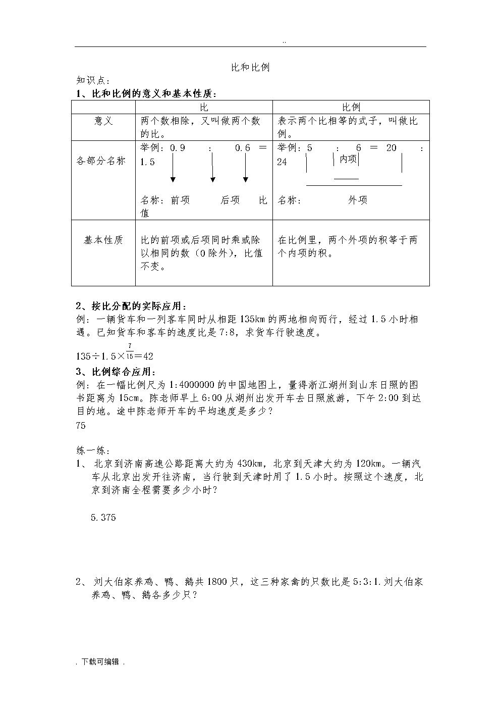 六年级比和比例复习知识点与典型例题.doc