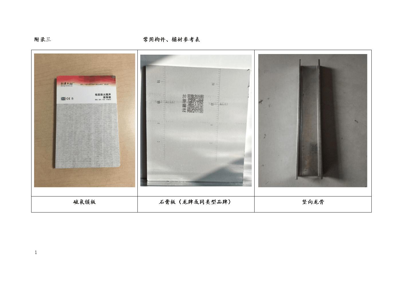 新型无机类(硫氧镁隔墙板常用构件、辅材参考表-体系文件.docx