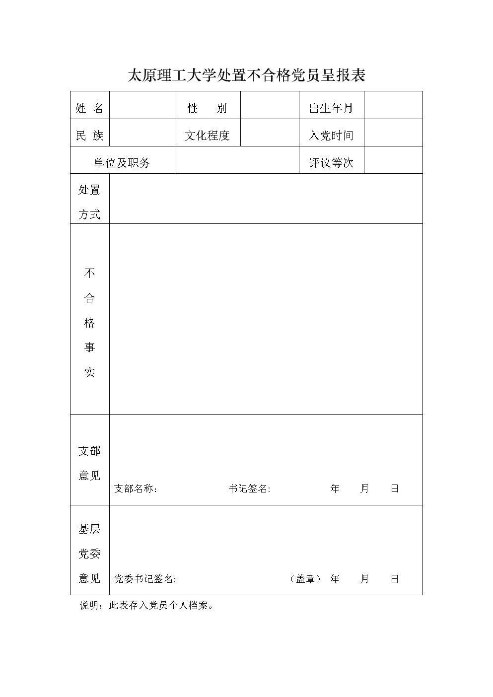太原理工大学处置不合格党员呈报表.doc