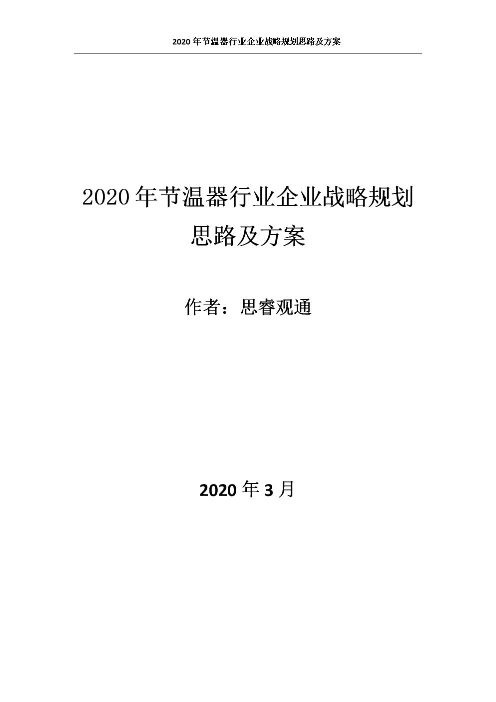 2020年节温器行业企业战略规划思路及方案.docx