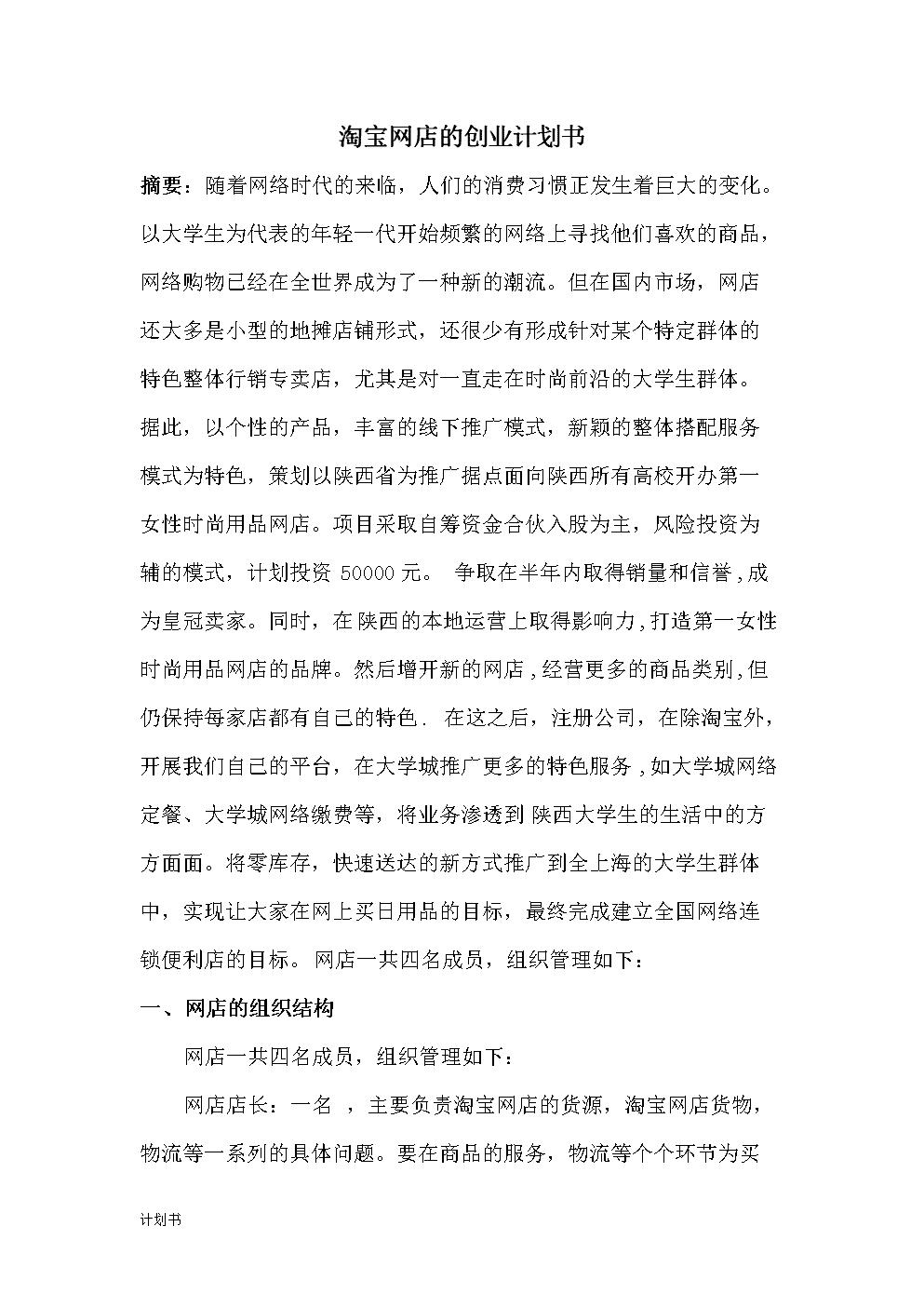 关于淘宝网店项目计划书.doc