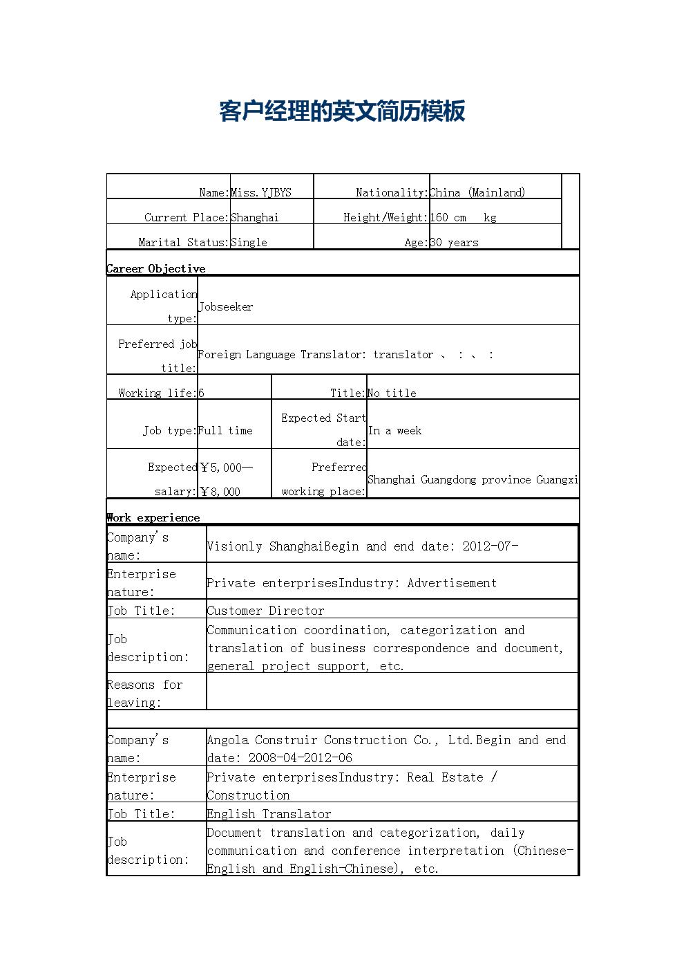 客户经理英文简历模板.docx