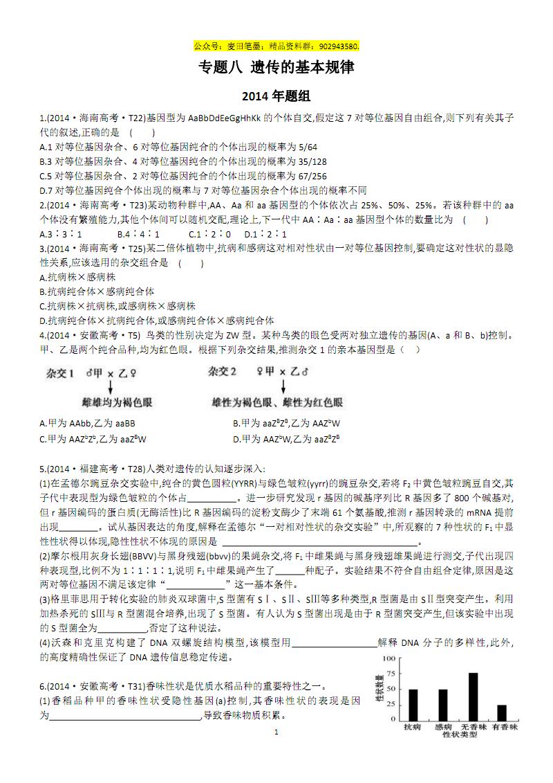 专题八 遗传的基本规律.pdf